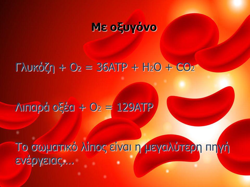 Με οξυγόνο Γλυκόζη + O2 = 36ATP + H2O + CO2. Λιπαρά οξέα + O2 = 129ATP.