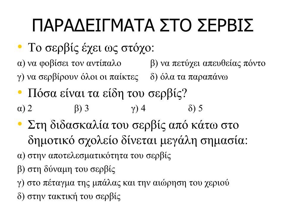 ΠΑΡΑΔΕΙΓΜΑΤΑ ΣΤΟ ΣΕΡΒΙΣ