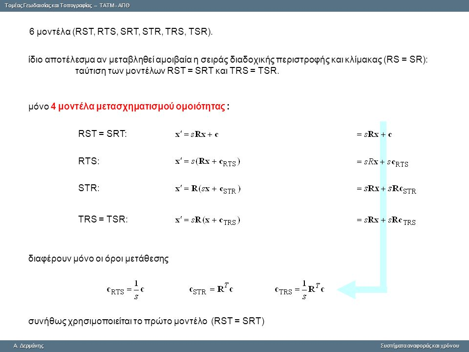 6 μοντέλα (RST, RTS, SRT, STR, TRS, TSR).