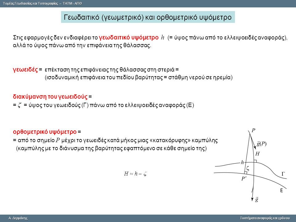 Γεωδαιτικό (γεωμετρικό) και ορθομετρικό υψόμετρο