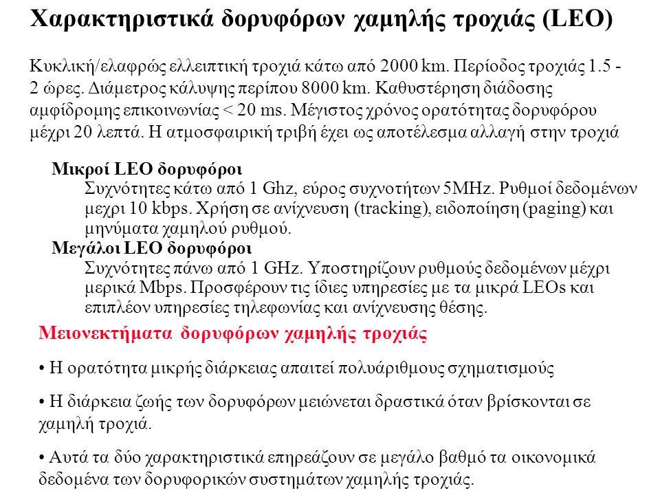 Χαρακτηριστικά δορυφόρων χαμηλής τροχιάς (LEO)