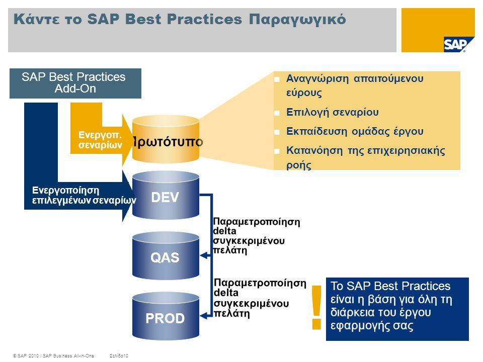 Κάντε το SAP Best Practices Παραγωγικό