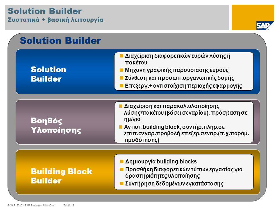 Solution Builder Συστατικά + βασική λειτουργία