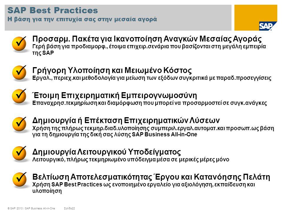 SAP Best Practices Η βάση για την επιτυχία σας στην μεσαία αγορά