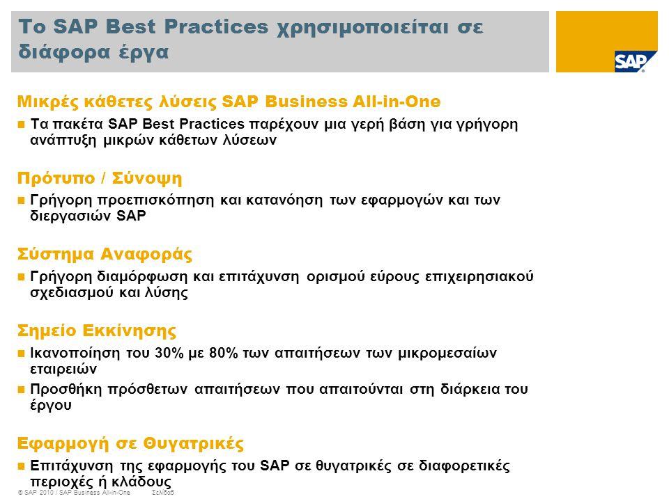 Το SAP Best Practices χρησιμοποιείται σε διάφορα έργα