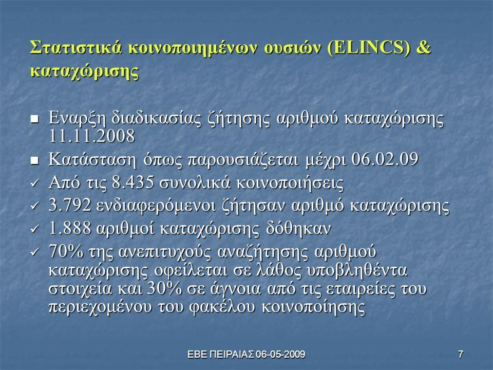Στατιστικά κοινοποιημένων ουσιών (ELINCS) & καταχώρισης