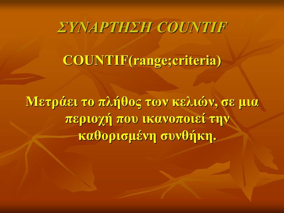 COUNTIF(range;criteria)