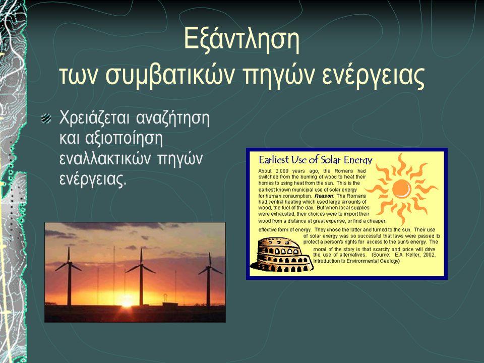 Εξάντληση των συμβατικών πηγών ενέργειας