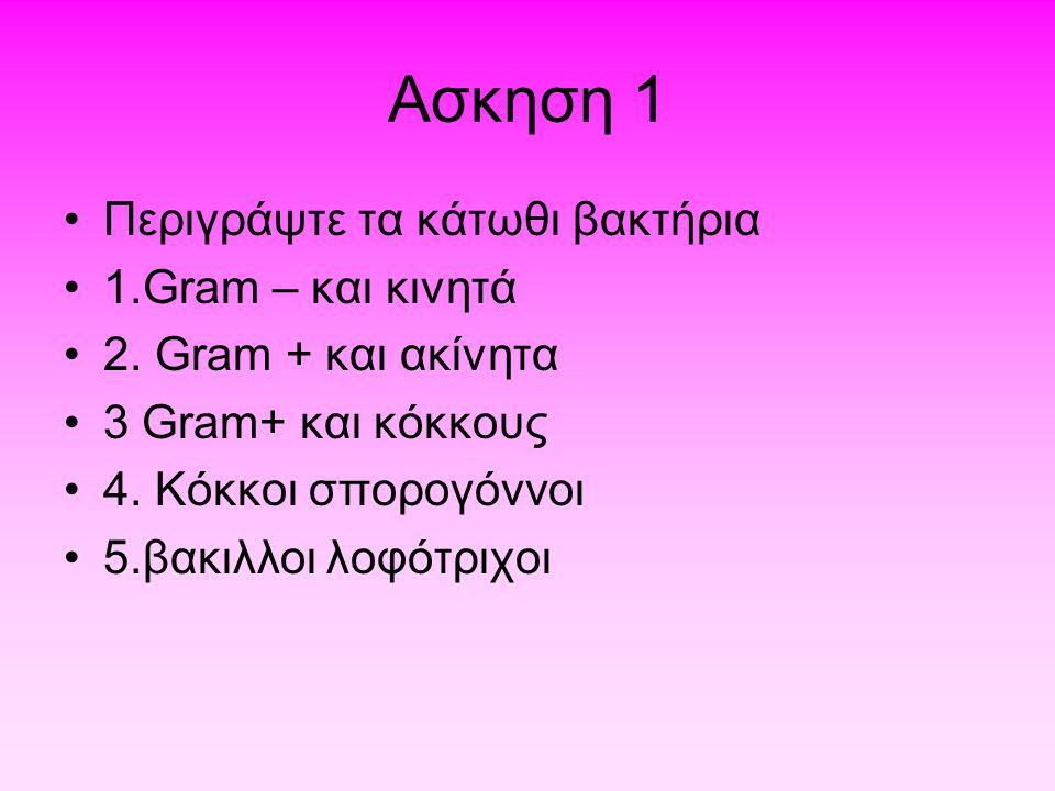 Aσκηση 1 Περιγράψτε τα κάτωθι βακτήρια 1.Gram – και κινητά