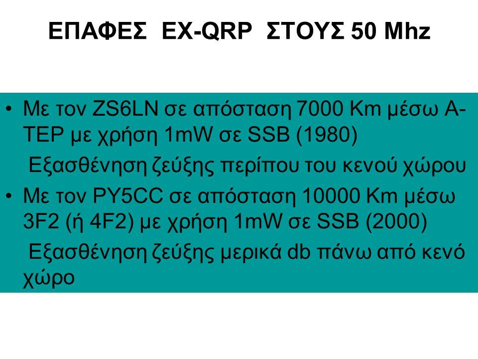 ΕΠΑΦΕΣ EX-QRP ΣΤΟΥΣ 50 Mhz