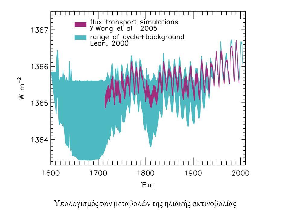 Υπολογισμός των μεταβολών της ηλιακής ακτινοβολίας