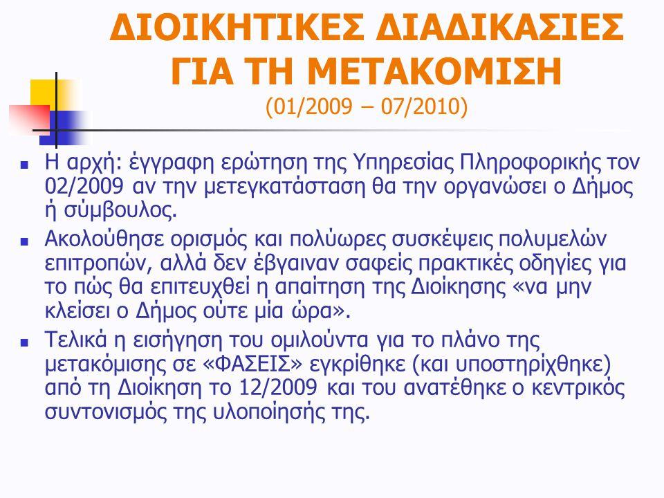 ΔΙΟΙΚΗΤΙΚΕΣ ΔΙΑΔΙΚΑΣΙΕΣ ΓΙΑ ΤΗ ΜΕΤΑΚΟΜΙΣΗ (01/2009 – 07/2010)