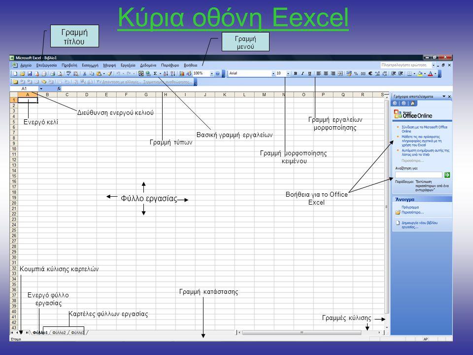 Κύρια οθόνη Εexcel Γραμμή τίτλου Φύλλο εργασίας Γραμμή μενού