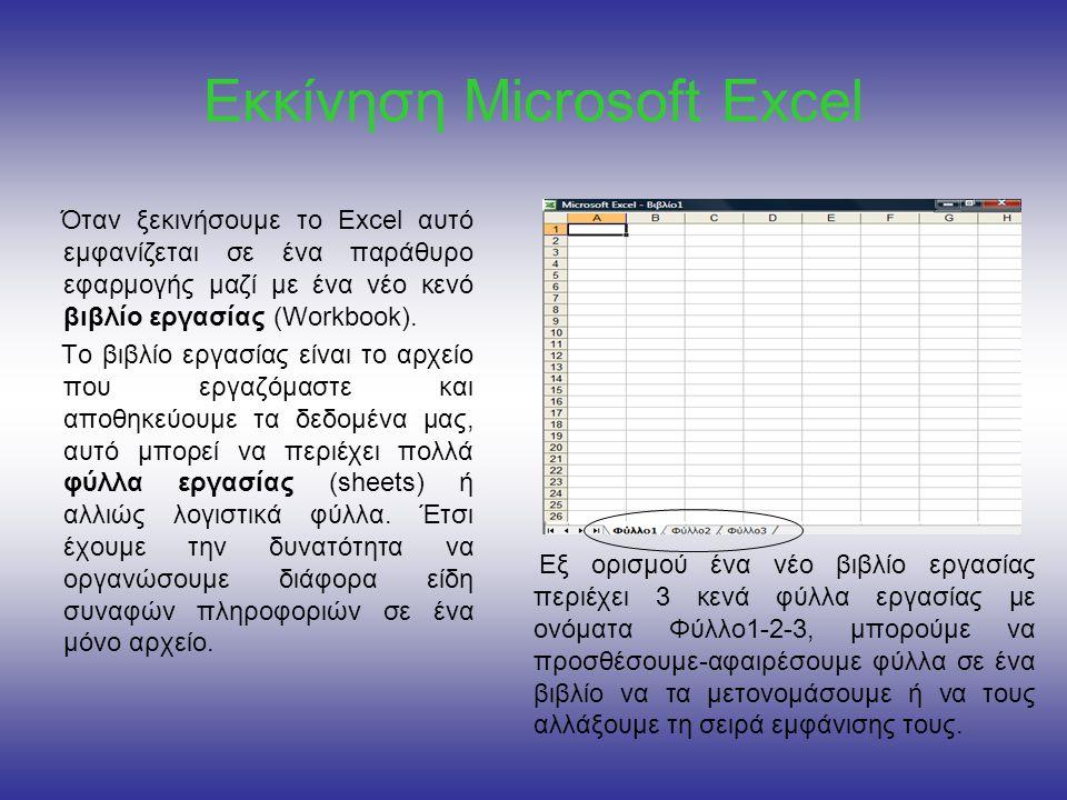 Εκκίνηση Microsoft Excel
