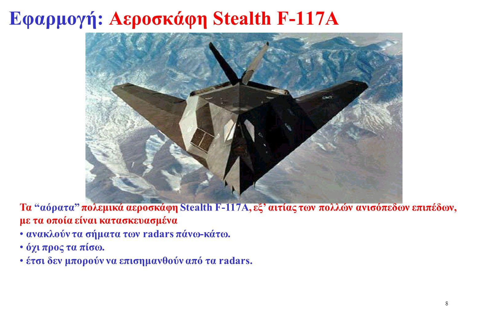 Εφαρμογή: Αεροσκάφη Stealth F-117A