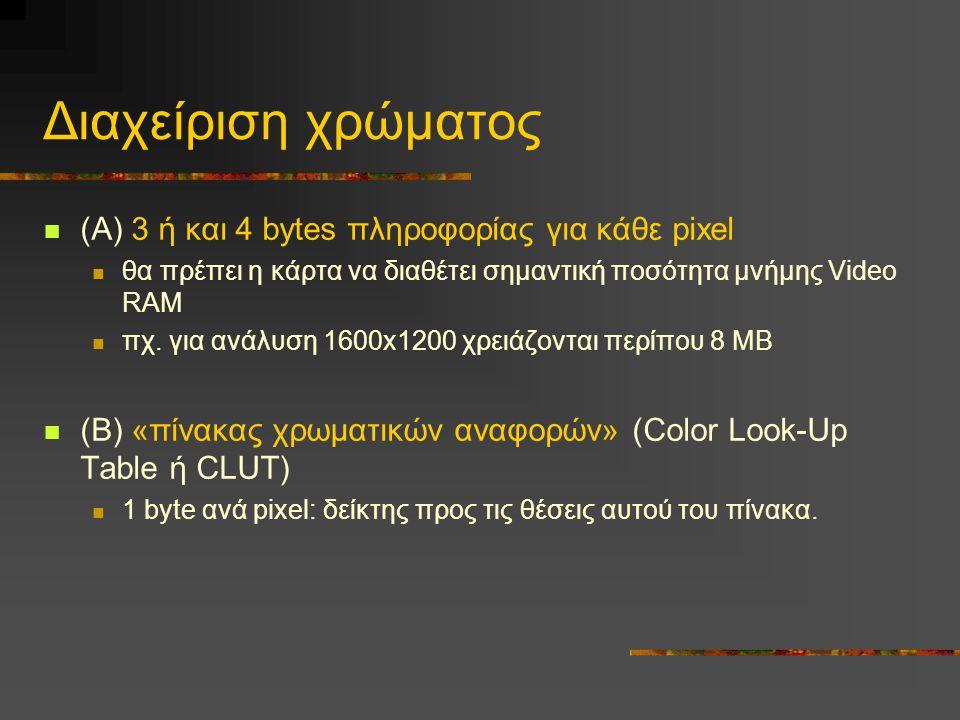 Διαχείριση χρώματος (Α) 3 ή και 4 bytes πληροφορίας για κάθε pixel