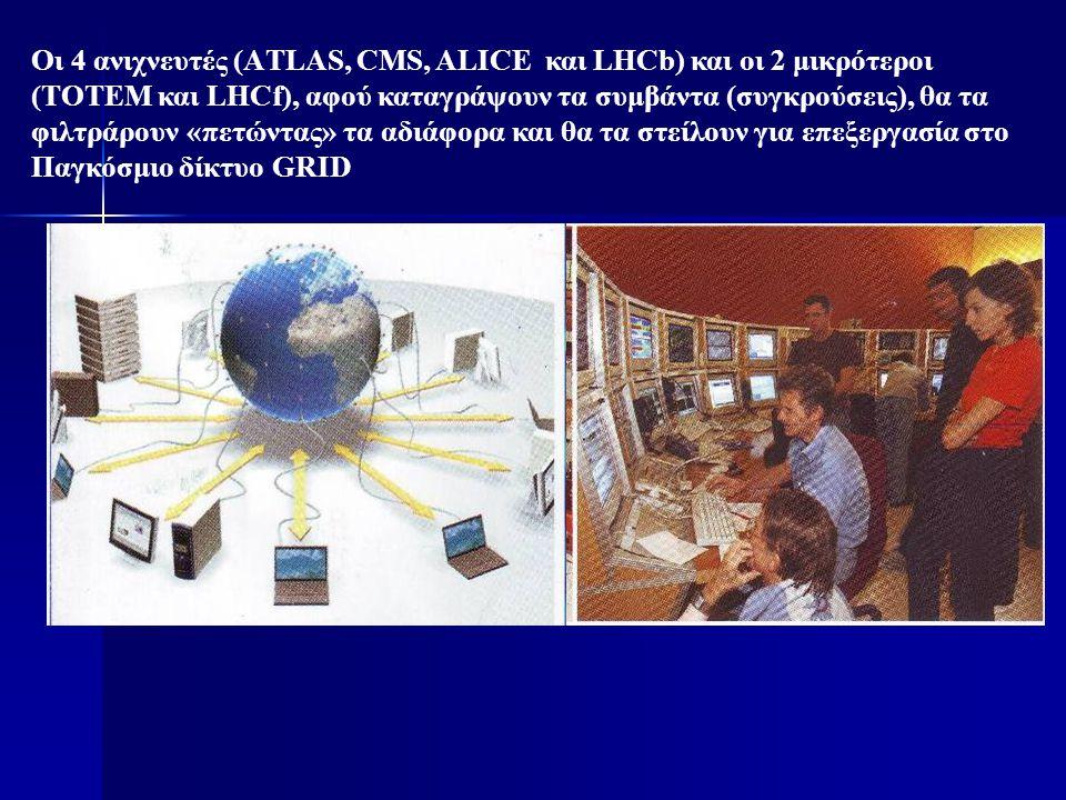 Οι 4 ανιχνευτές (ΑTLAS, CMS, ALICE και LHCb) και οι 2 μικρότεροι (TOTEM και LHCf), αφού καταγράψουν τα συμβάντα (συγκρούσεις), θα τα φιλτράρουν «πετώντας» τα αδιάφορα και θα τα στείλουν για επεξεργασία στο Παγκόσμιο δίκτυο GRID