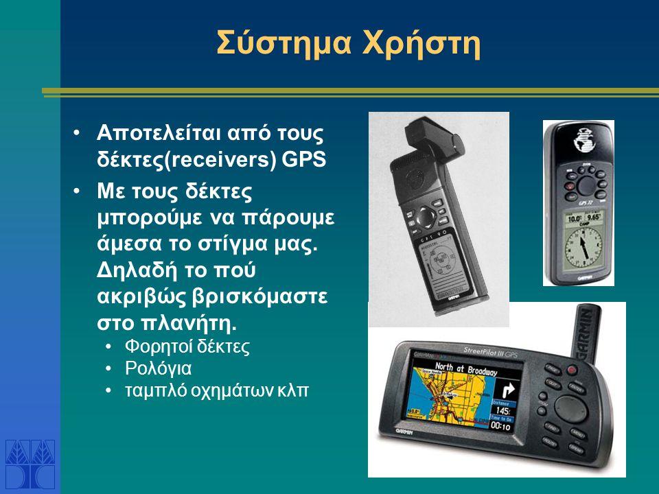 Σύστημα Χρήστη Αποτελείται από τους δέκτες(receivers) GPS
