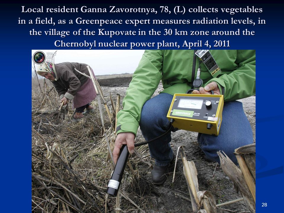 Local resident Ganna Zavorotnya, 78, (L) collects vegetables in a field, as a Greenpeace expert measures radiation levels, in the village of the Kupovate in the 30 km zone around the Chernobyl nuclear power plant, April 4, 2011