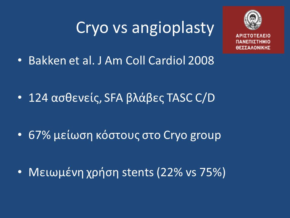 Cryo vs angioplasty Bakken et al. J Am Coll Cardiol 2008