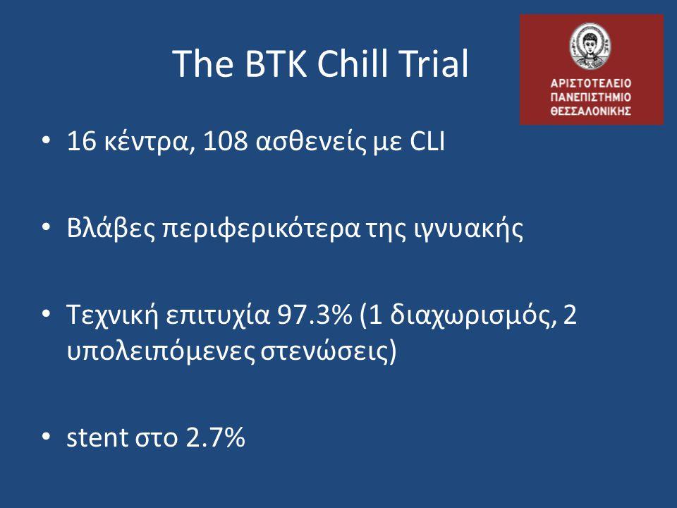 The BTK Chill Trial 16 κέντρα, 108 ασθενείς με CLI