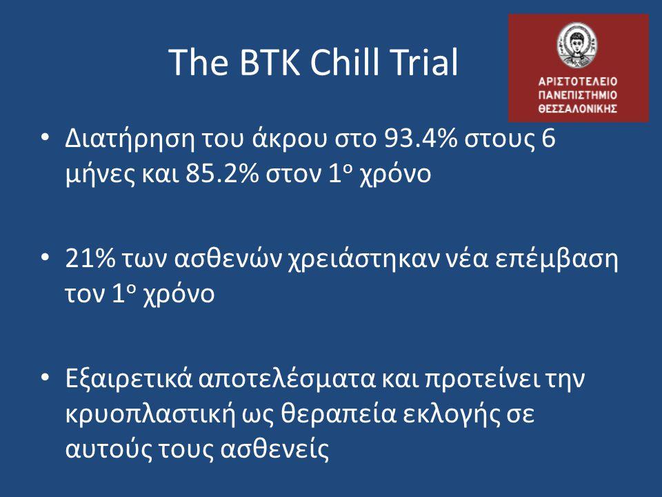 The BTK Chill Trial Διατήρηση του άκρου στο 93.4% στους 6 μήνες και 85.2% στον 1ο χρόνο. 21% των ασθενών χρειάστηκαν νέα επέμβαση τον 1ο χρόνο.