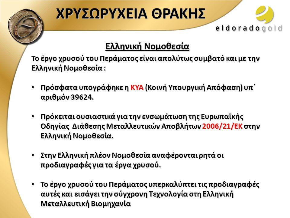 ΧΡΥΣΩΡΥΧΕΙΑ ΘΡΑΚΗΣ Ελληνική Νομοθεσία