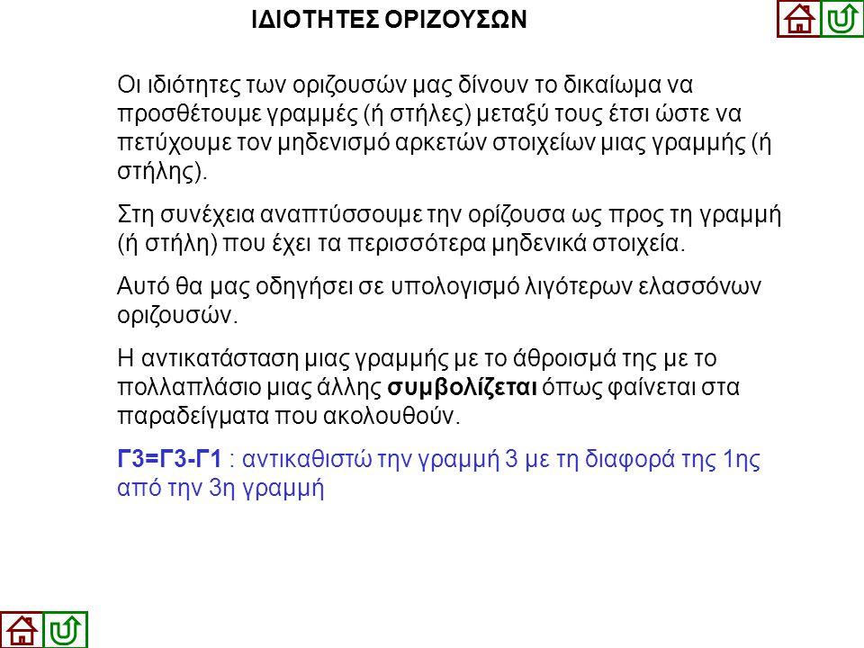 ΙΔΙΟΤΗΤΕΣ ΟΡΙΖΟΥΣΩΝ