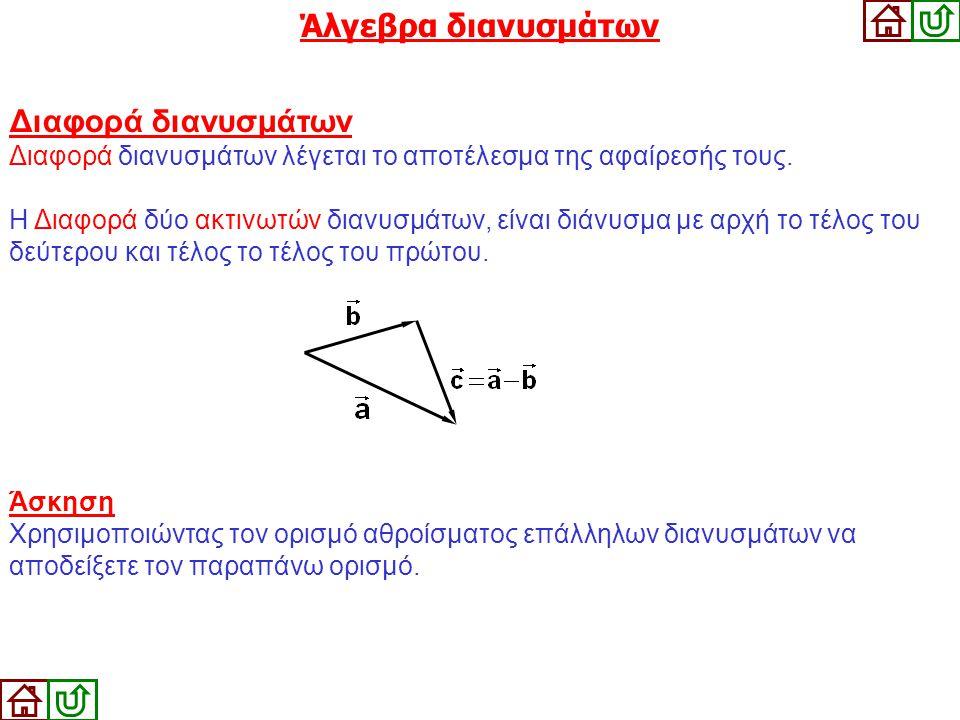 Άλγεβρα διανυσμάτων Διαφορά διανυσμάτων