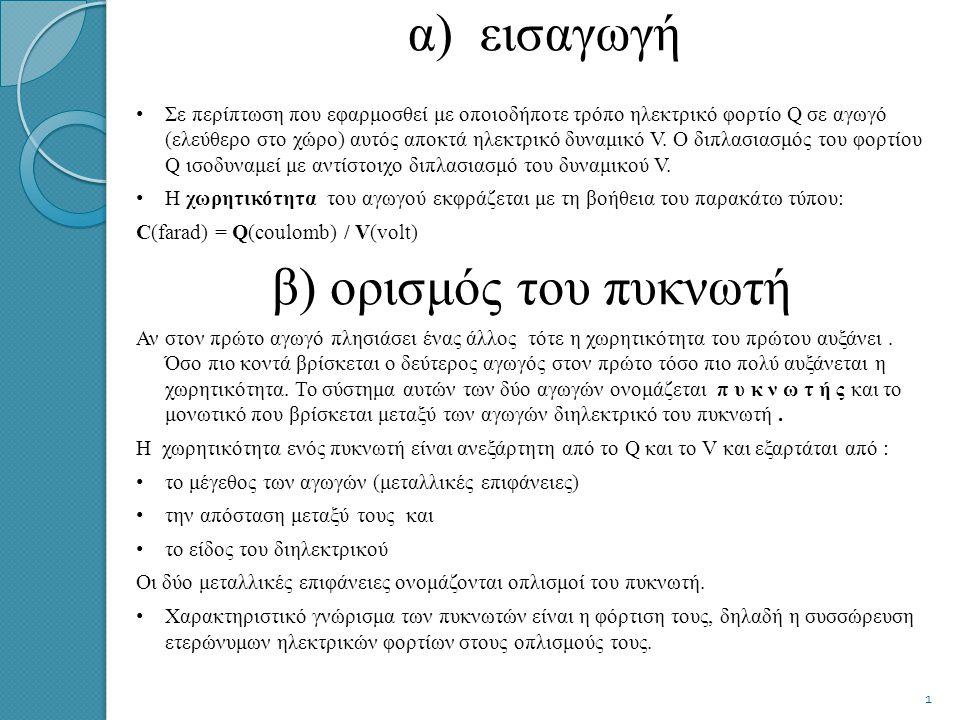 α) εισαγωγή β) ορισμός του πυκνωτή