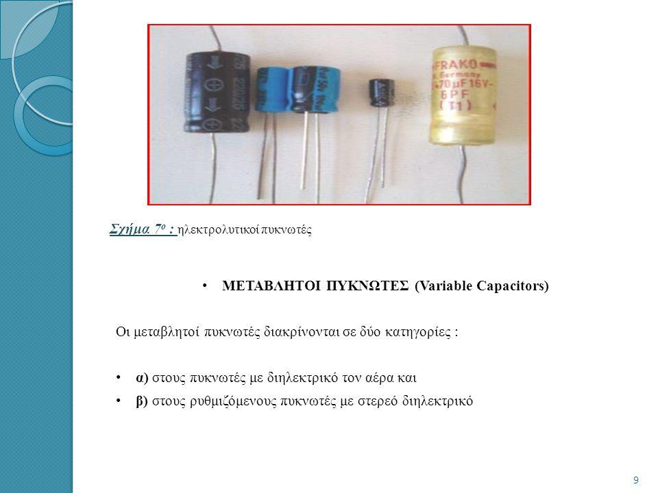 Σχήμα 7ο : ηλεκτρολυτικοί πυκνωτές
