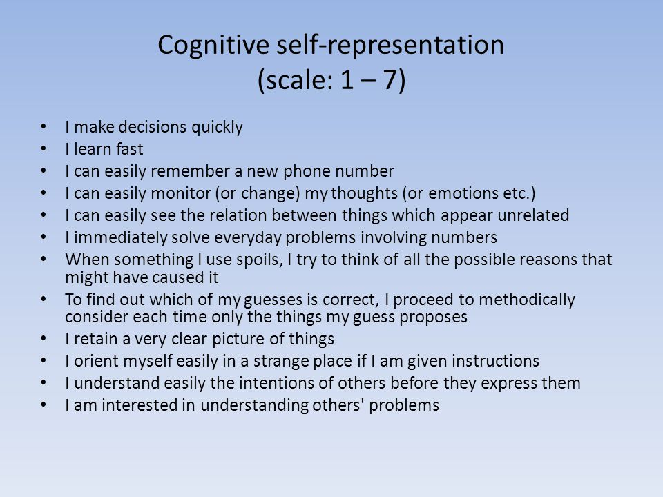 Cognitive self-representation (scale: 1 – 7)