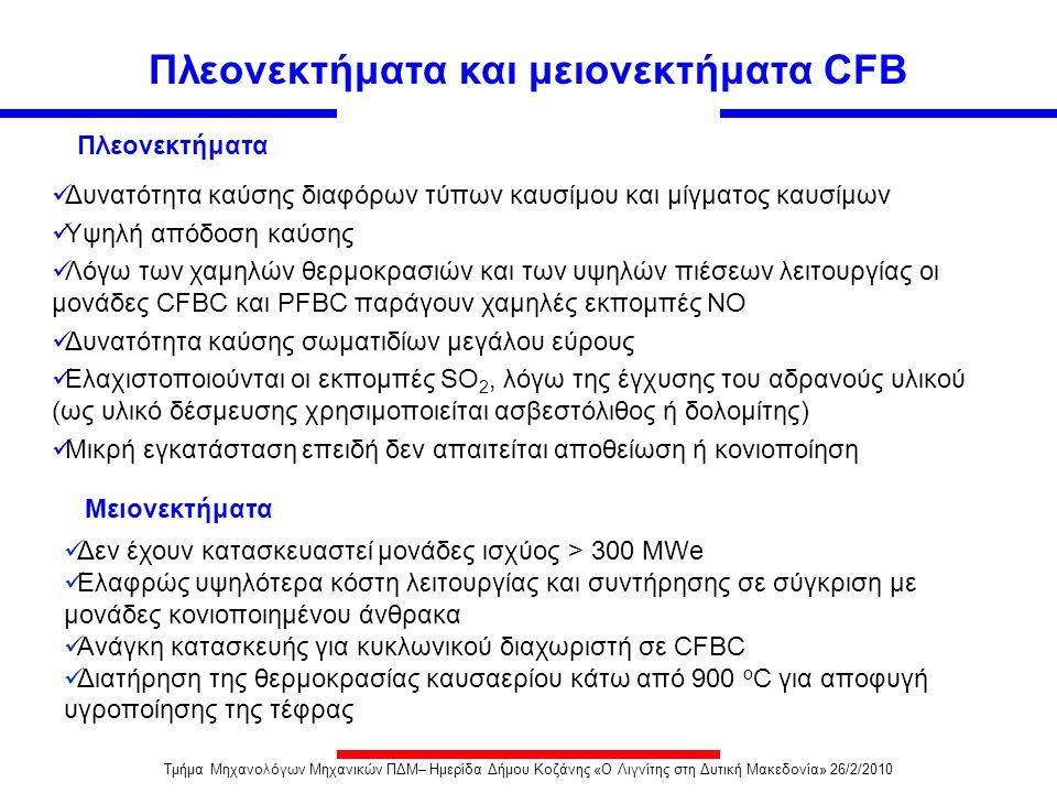 Πλεονεκτήματα και μειονεκτήματα CFB