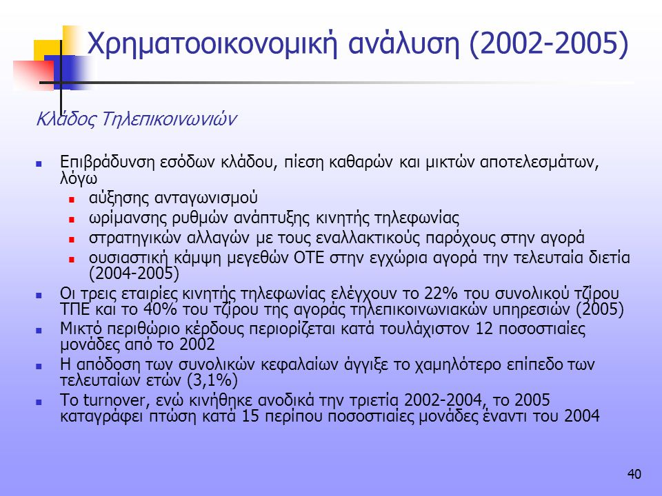 Χρηματοοικονομική ανάλυση (2002-2005)