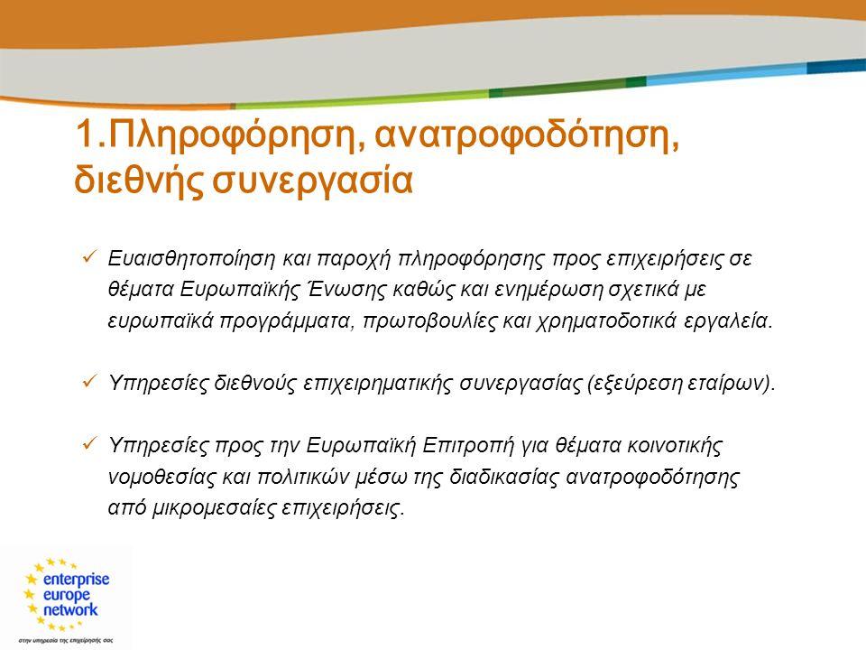1.Πληροφόρηση, ανατροφοδότηση, διεθνής συνεργασία