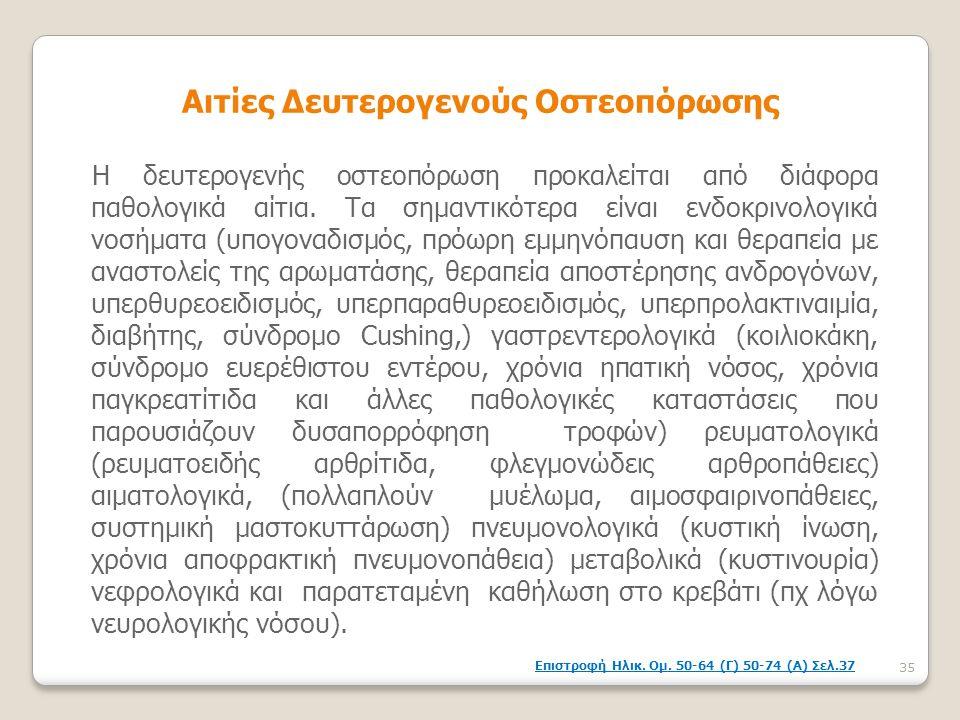 Αιτίες Δευτερογενούς Οστεοπόρωσης