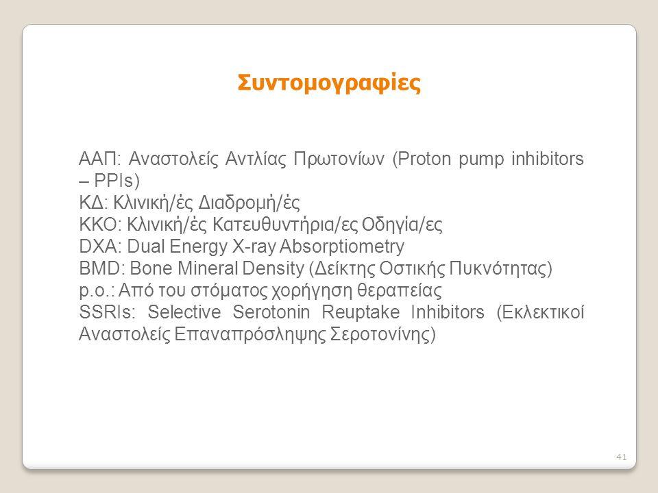 Συντομογραφίες ΑΑΠ: Αναστολείς Αντλίας Πρωτονίων (Proton pump inhibitors – PPIs) ΚΔ: Κλινική/ές Διαδρομή/ές.