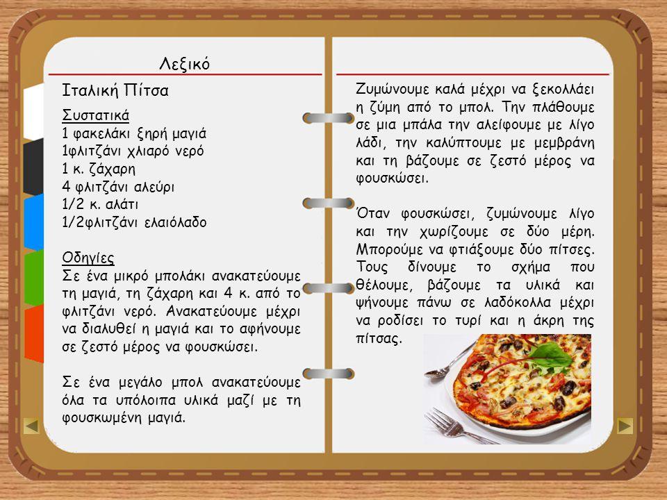 Λεξικό Ιταλική Πίτσα.