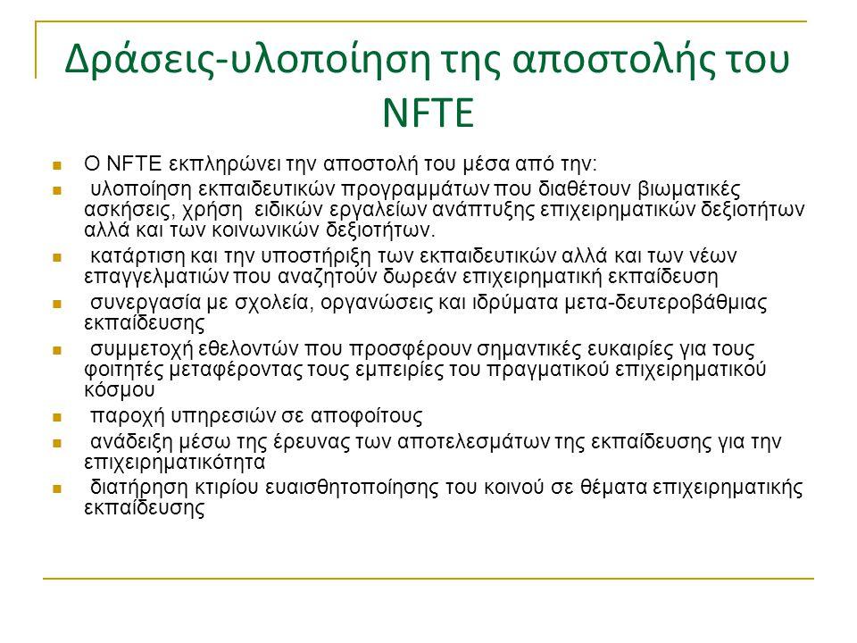 Δράσεις-υλοποίηση της αποστολής του NFTE