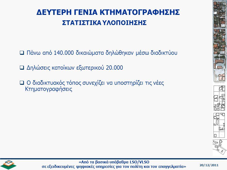 ΔΕΥΤΕΡΗ ΓΕΝΙΑ ΚΤΗΜΑΤΟΓΡΑΦΗΣΗΣ ΣΤΑΤΙΣΤΙΚΑ ΥΛΟΠΟΙΗΣΗΣ