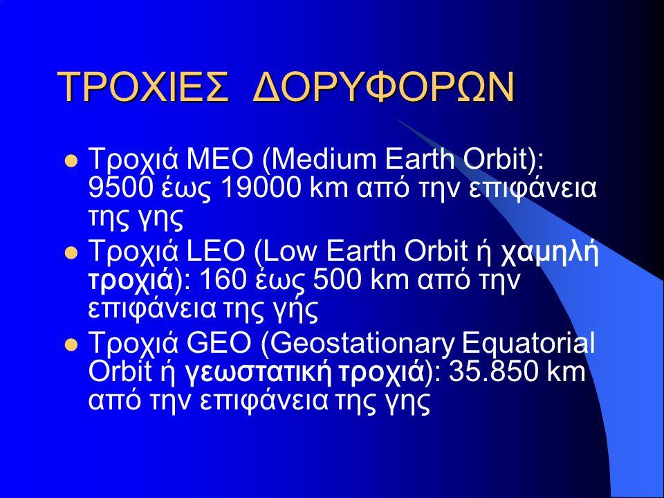 ΤΡΟΧΙΕΣ ΔΟΡΥΦΟΡΩΝ Τροχιά ΜΕΟ (Medium Earth Orbit): 9500 έως 19000 km από την επιφάνεια της γης.