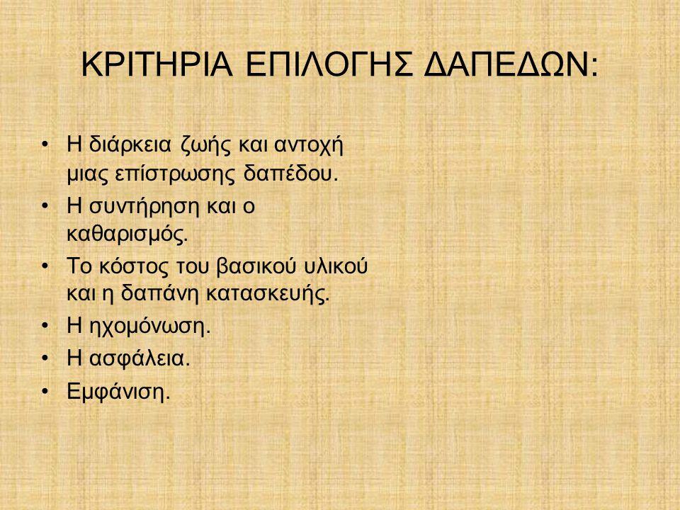ΚΡΙΤΗΡΙΑ ΕΠΙΛΟΓΗΣ ΔΑΠΕΔΩΝ: