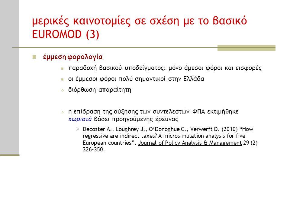 μερικές καινοτομίες σε σχέση με το βασικό EUROMOD (3)