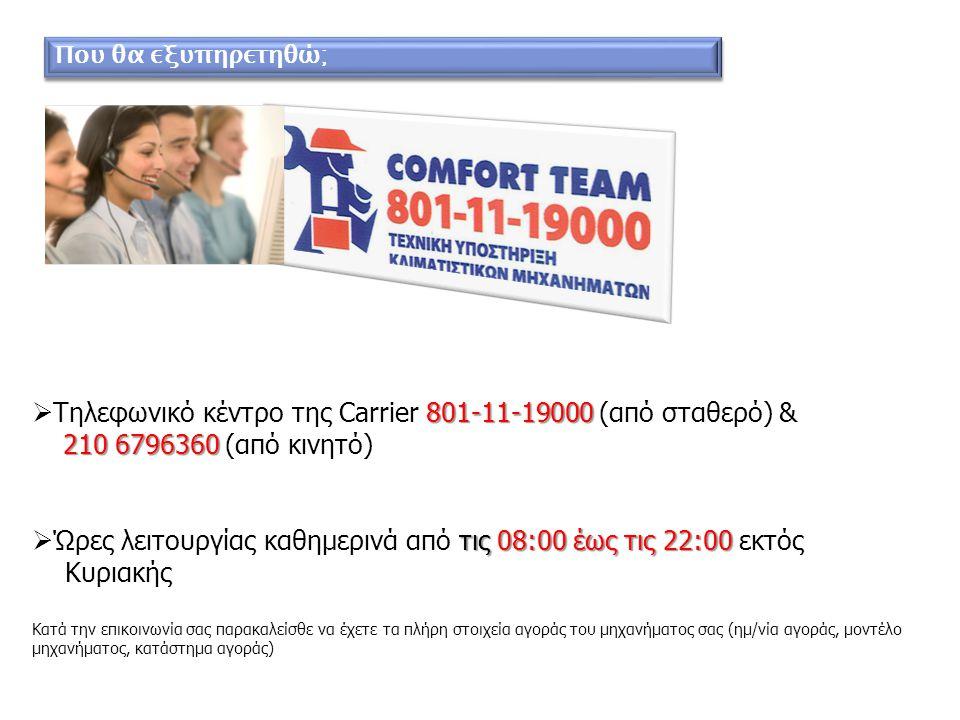 Τηλεφωνικό κέντρο της Carrier 801-11-19000 (από σταθερό) &