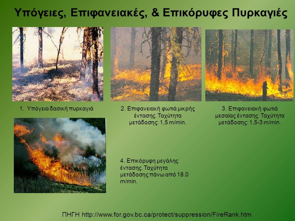 Υπόγειες, Επιφανειακές, & Επικόρυφες Πυρκαγιές