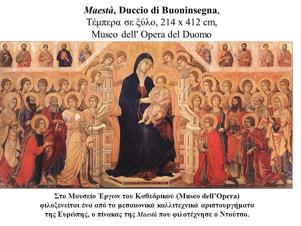 Maestà, Duccio di Buoninsegna, Τέμπερα σε ξύλο, 214 x 412 cm, Museo dell Opera del Duomo