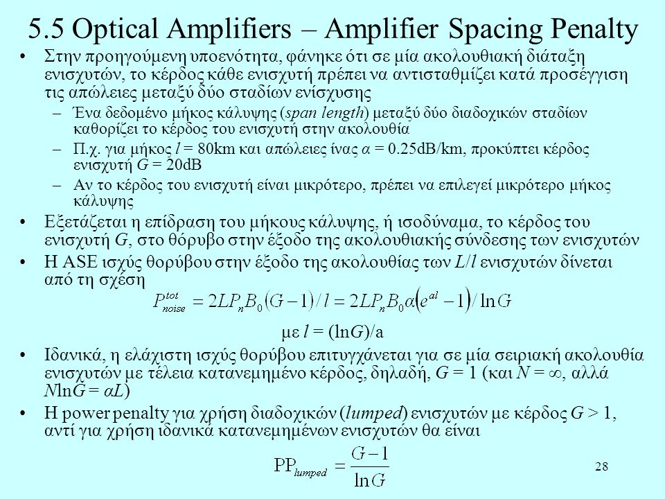 5.5 Optical Amplifiers – Amplifier Spacing Penalty