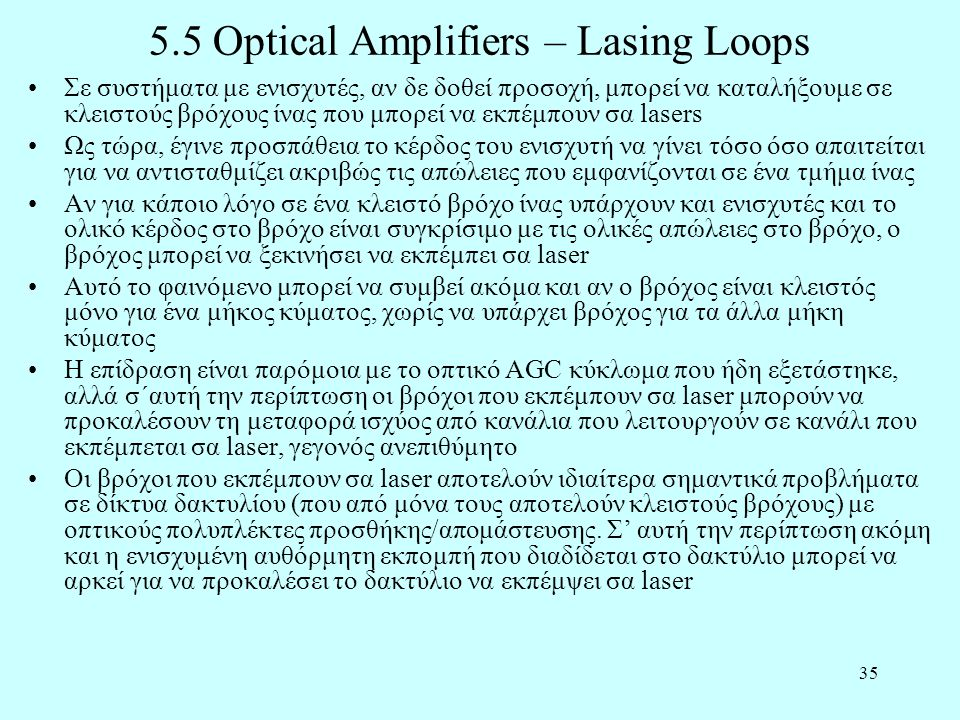 5.5 Optical Amplifiers – Lasing Loops