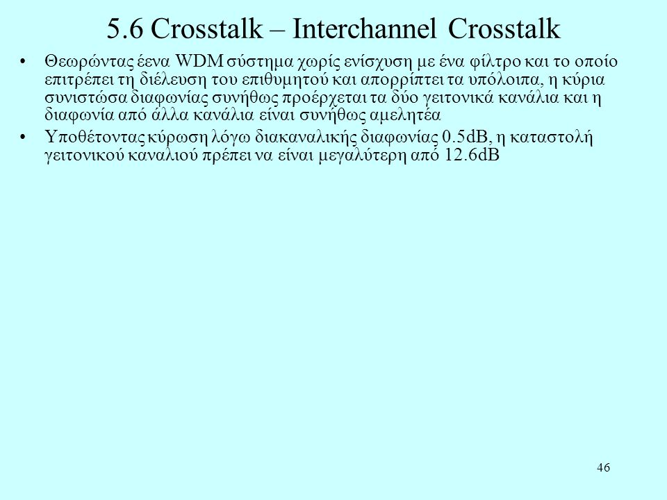 5.6 Crosstalk – Interchannel Crosstalk