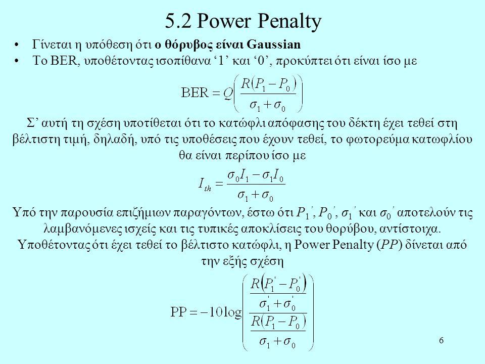 5.2 Power Penalty Γίνεται η υπόθεση ότι ο θόρυβος είναι Gaussian